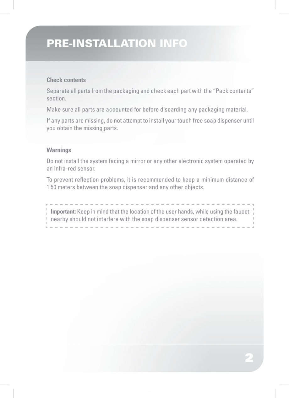 Pagina 4 - Dozator sapun  STERN SWAN Instructiuni montaj, utilizare Engleza ing sound is heard. Pay ...
