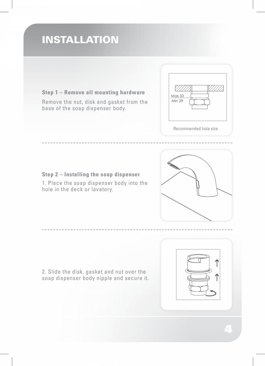 Pagina 6 - Dozator sapun  STERN SWAN Instructiuni montaj, utilizare Engleza  4  ADJ  This function...