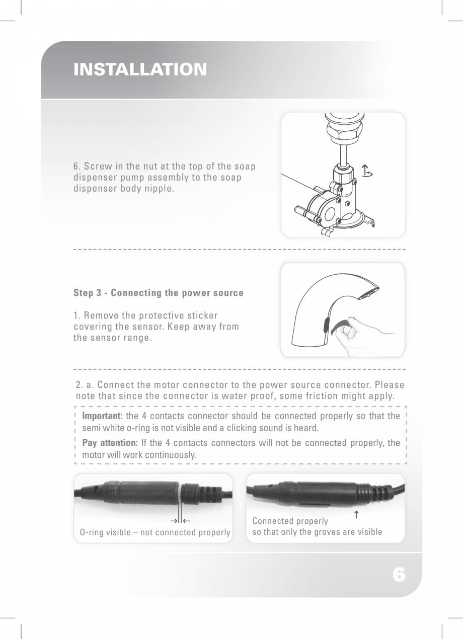 Pagina 8 - Dozator sapun  STERN SWAN Instructiuni montaj, utilizare Engleza enser pump assembly ...