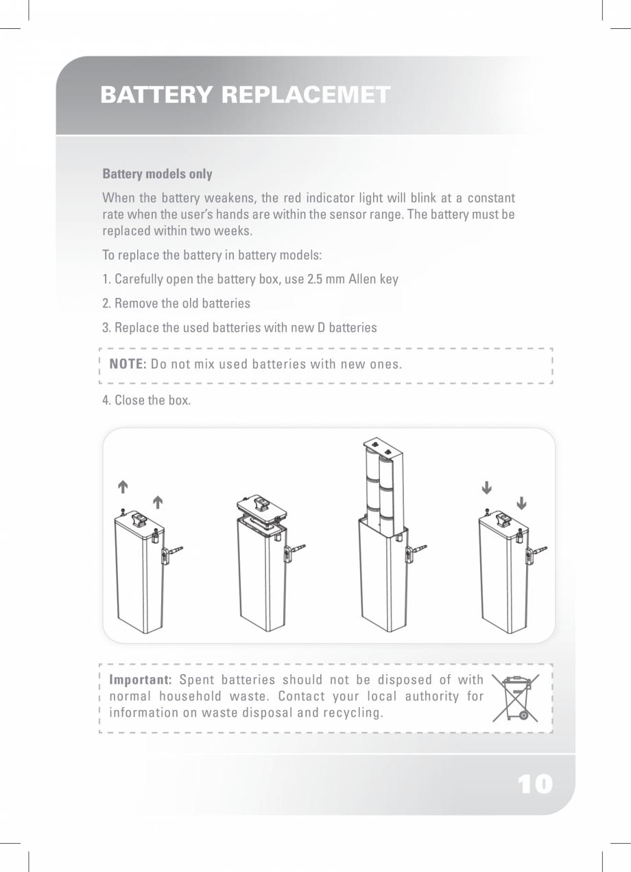 Pagina 12 - Dozator sapun  STERN SWAN Instructiuni montaj, utilizare Engleza