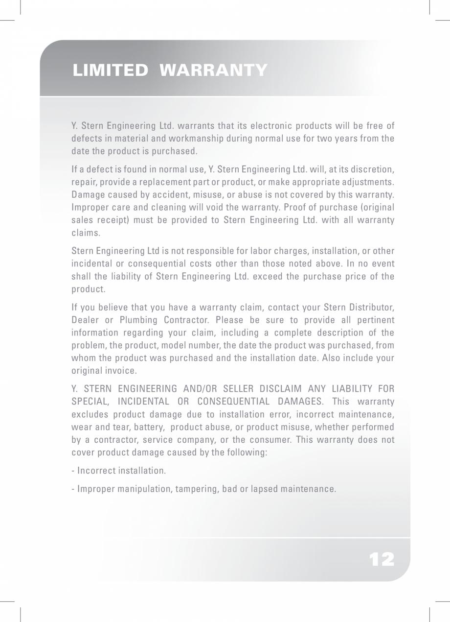 Pagina 14 - Dozator sapun  STERN SWAN Instructiuni montaj, utilizare Engleza
