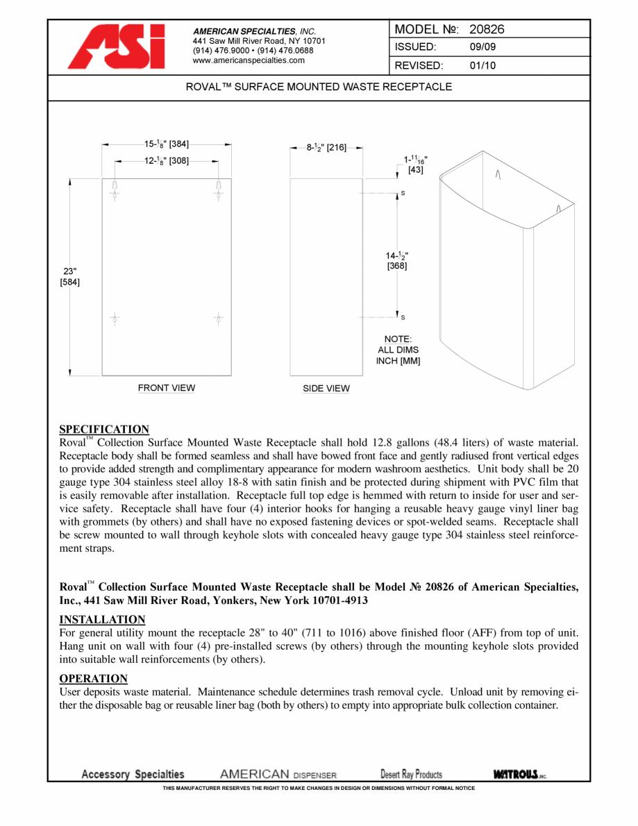 Pagina 1 - Cos de gunoi cu montaj aparent American Specialties Inc. USA 20826 Fisa tehnica Engleza...