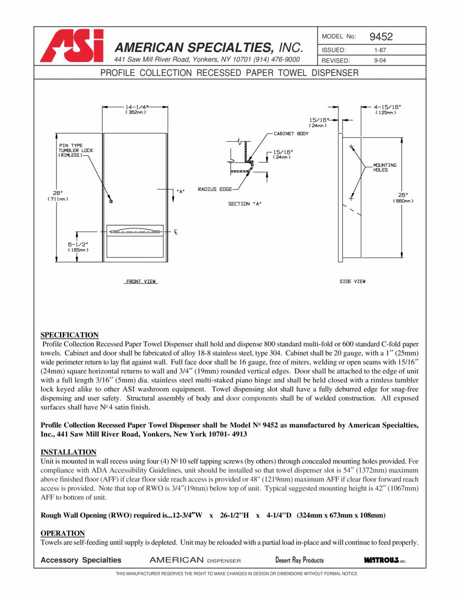Pagina 1 - Dispenser incastrat pentru servetele American Specialties Inc. USA 9452 Fisa tehnica...