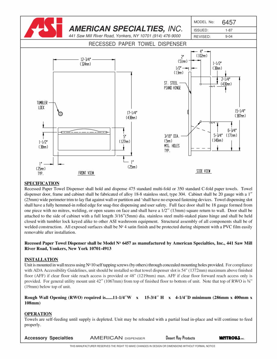 Pagina 1 - Dispenser incastrat pentru servetele American Specialties Inc. USA 6457 Fisa tehnica...