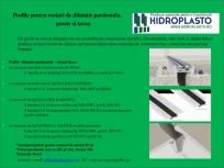 Profile pentru rosturi de dilatatie pardoseala, perete si tavan HIDROPLASTO