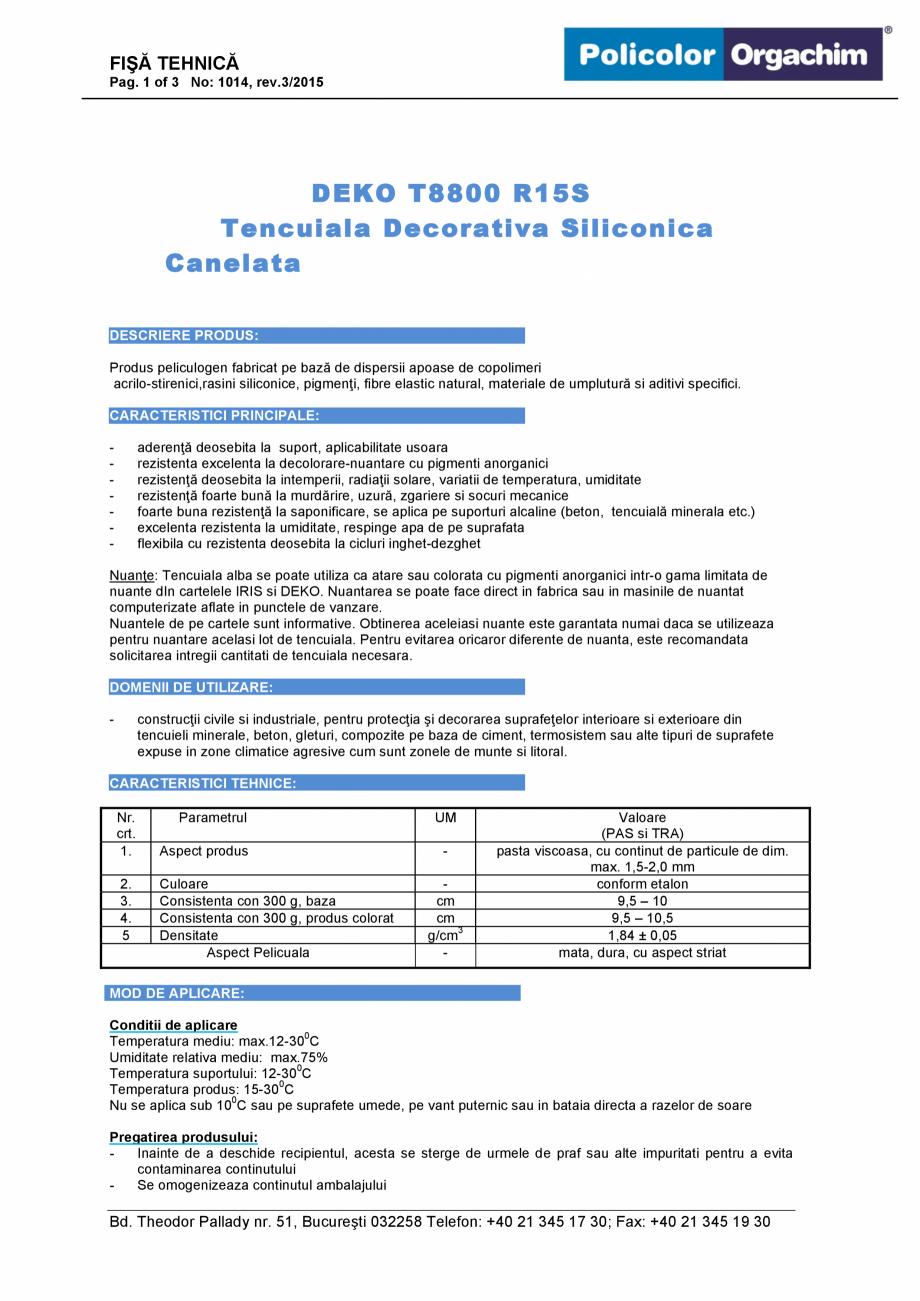Temperatura Aplicare Tencuiala Decorativa.Tencuiala Decorativa Siliconica R15s Deko Professional T8800 Fisa