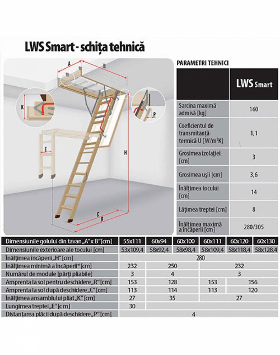 Pagina 1 - Scara din lemn pentru acces pod FAKRO LWS Fisa tehnica Romana