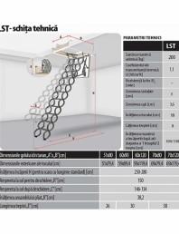 Scara metalica tip pantograf pentru acces in pod