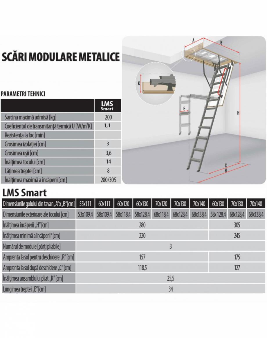 Pagina 1 - Scara metalica pentru acces pod FAKRO LMS Fisa tehnica Romana