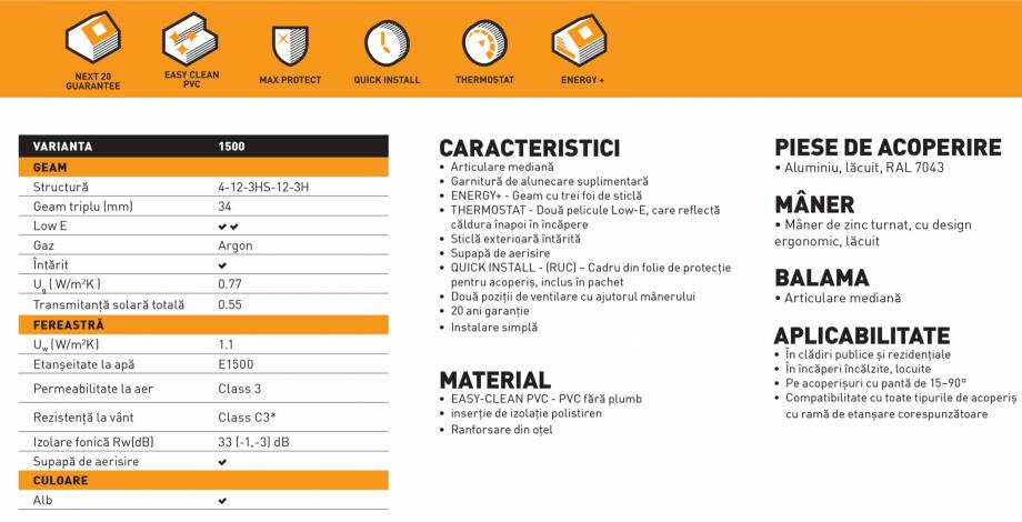 Pagina 1 - Fereastra mansarda DAKEA Better Energy PVC Fisa tehnica Romana