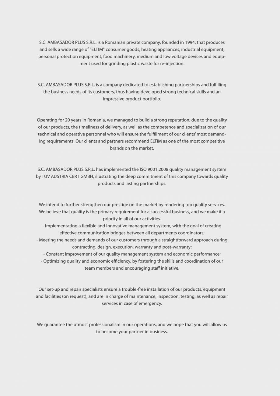 Pagina 2 - Catalog Eltim - Bunuri de larg consum  Catalog, brosura Engleza