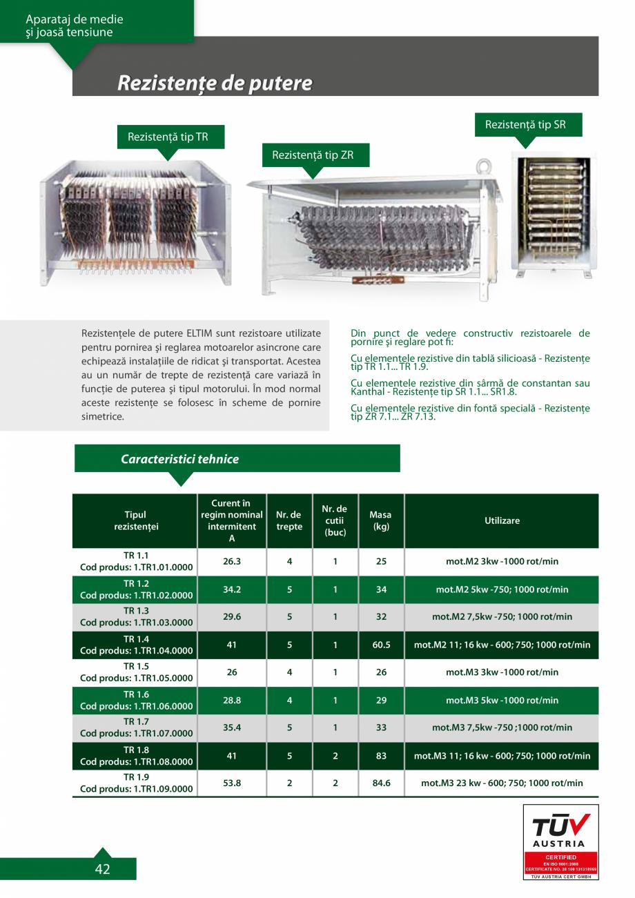 Pagina 1 - Rezistente de putere ELTIM Catalog, brosura Romana Aparataj de medie şi joasă tensiune ...