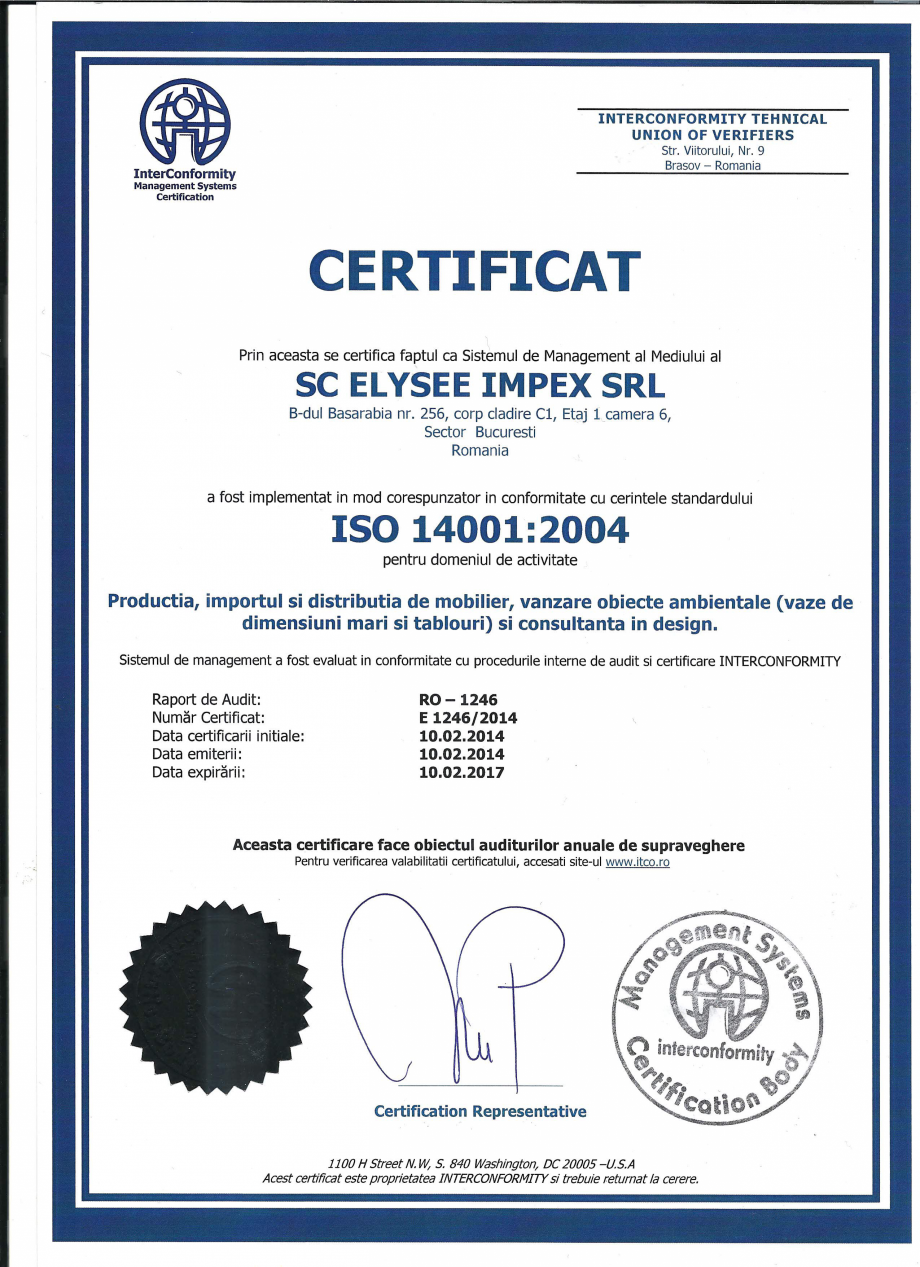 Certificare produs Certificat ISO 14001 Stay - SO 239, EFIT - SO 317 A, TNK Flex - SO 253, MOBILITY Chairry Mobilier de birou CHAIRRY  - Pagina 1