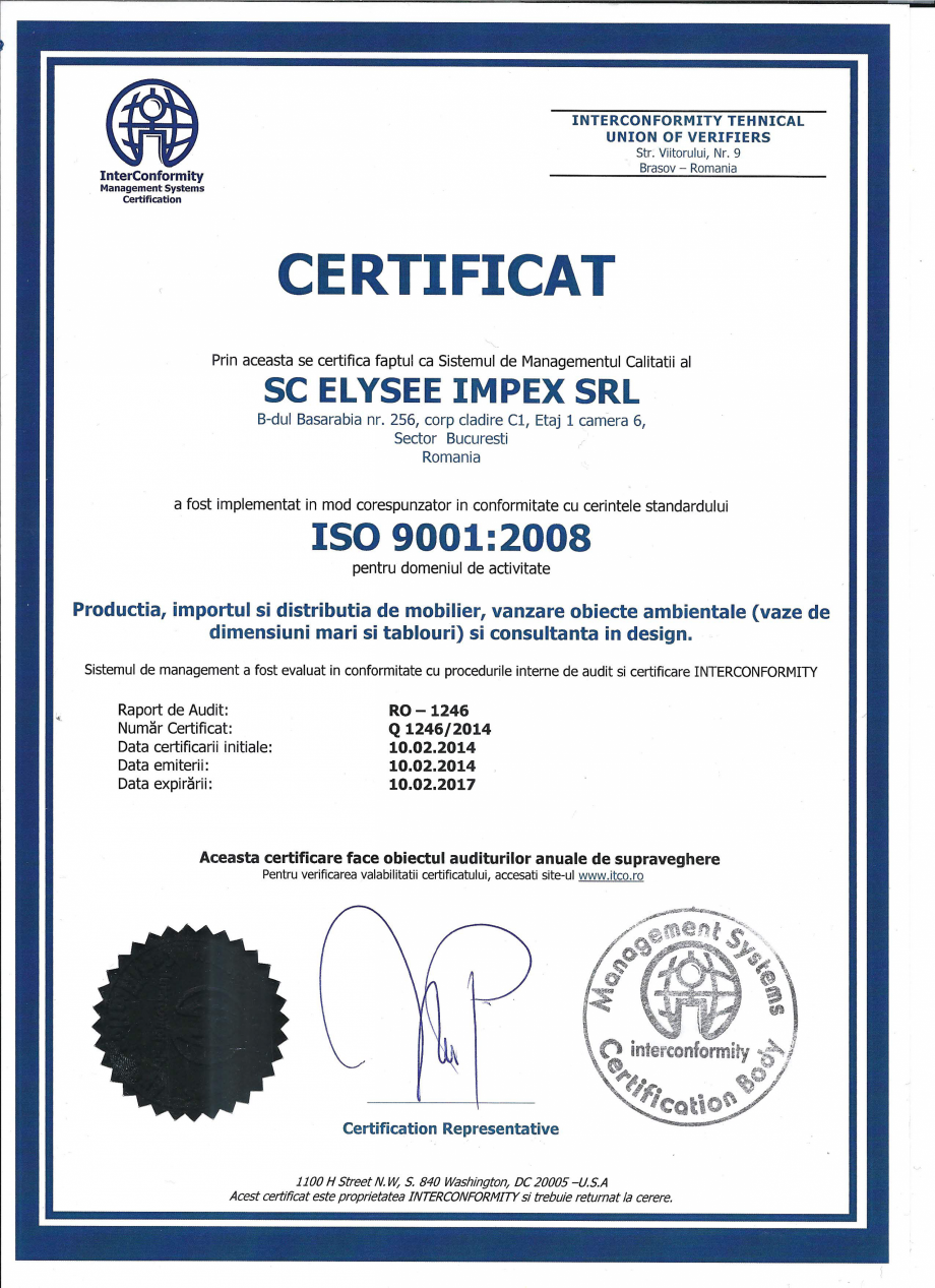 Certificare produs Certificat ISO 9001 Stay - SO 239, EFIT - SO 317 A, TNK Flex - SO 253, MOBILITY Chairry Mobilier de birou CHAIRRY  - Pagina 1