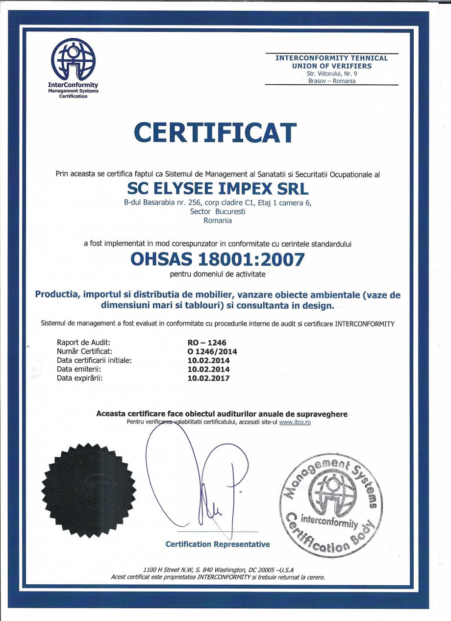 Certificare produs Certificat ISO 18001 Stay - SO 239, EFIT - SO 317 A, TNK Flex - SO 253, MOBILITY Chairry Mobilier de birou CHAIRRY  - Pagina 1