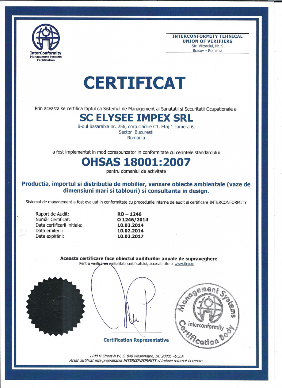Pagina 1 - Certificat ISO 18001 Chairry M 039, SC 014, SM 156, SM 159, SM 274, SRP 522 Certificare...
