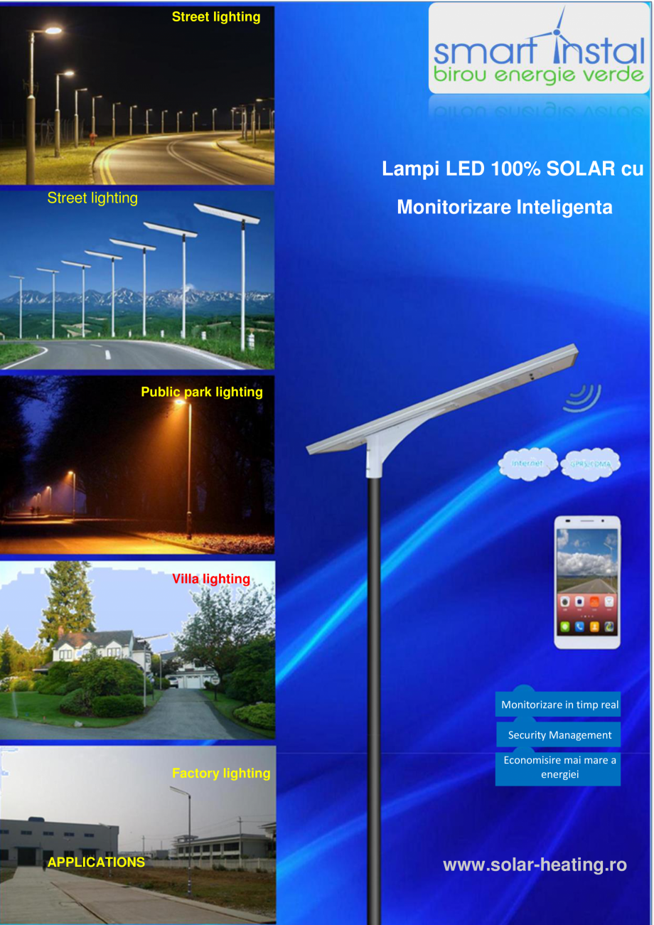 Pagina 1 - Monitorizare inteligenta - Lampi stradale cu LED, 100% SOLAR SMART INSTAL Fisa tehnica...