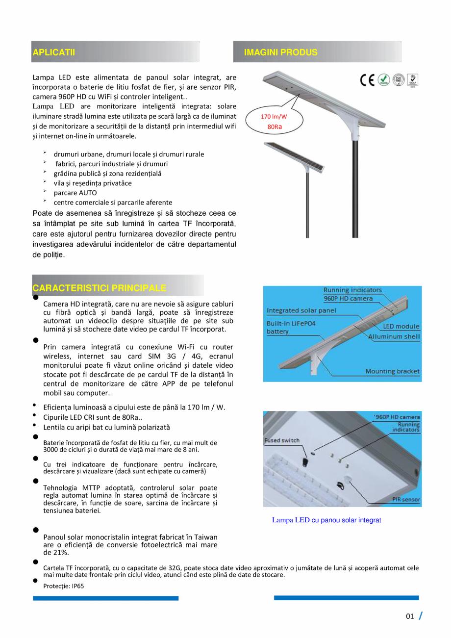 Pagina 2 - Monitorizare inteligenta - Lampi stradale cu LED, 100% SOLAR SMART INSTAL Fisa tehnica...