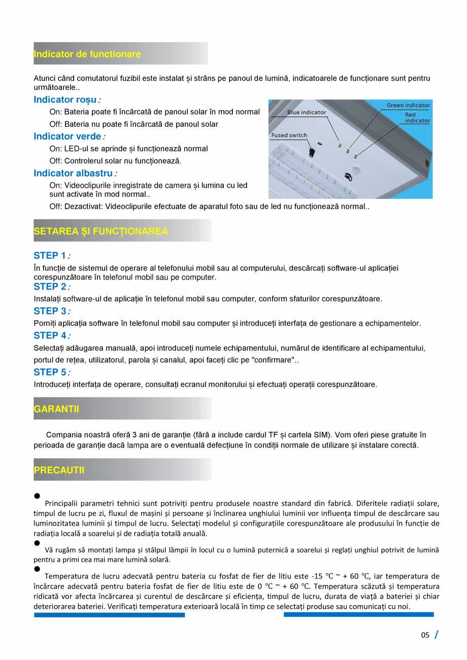 Pagina 6 - Monitorizare inteligenta - Lampi stradale cu LED, 100% SOLAR SMART INSTAL Fisa tehnica...