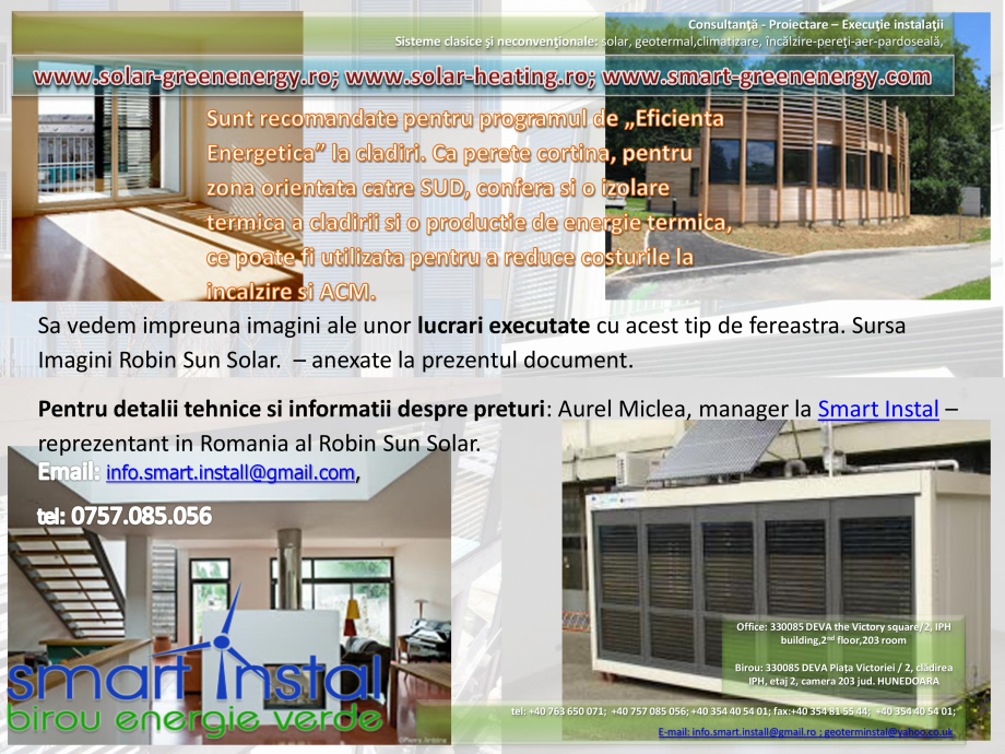 Catalog, brosura Vitrina Solara - Anvelopare termica, producere ACM si aport la incalzire SMART INSTAL Panouri solare pentru apa calda  SMART INSTAL  - Pagina 20