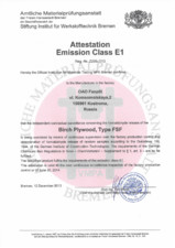 Certificare Tego - Attestation Emission Class E1 EUROPEAN PRODUCER