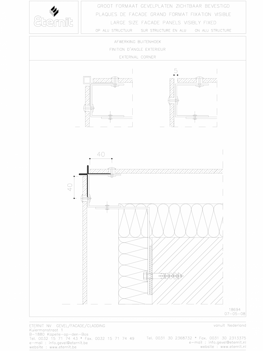 Pagina 1 - CAD-DWG Placa de fibrociment nituita  pe structura de aluminiu - Detaliu colt exterior...