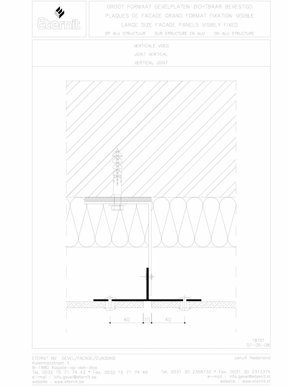 Pagina 1 - CAD-DWG Placa de fibrociment nituita pe structura de aluminiu - Rost vertical EQUITONE...