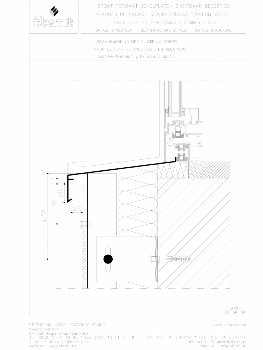 Pagina 1 - CAD-DWG Placa de fibrociment nituita pe structura de aluminiu EQUITONE Detaliu de montaj ...