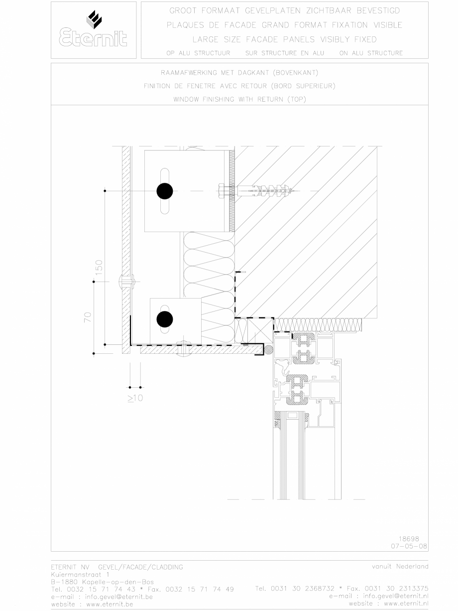 Pagina 1 - CAD-DWG Placa de fibrociment nituita pe structura de aluminiu - detaliu parte superioara ...