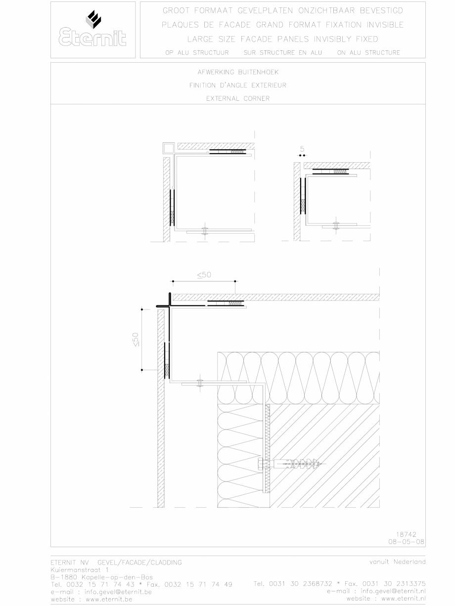 Pagina 1 - CAD-DWG Placa de fibrociment lipita pe structura din aluminiu - Detaliu colt exterior...