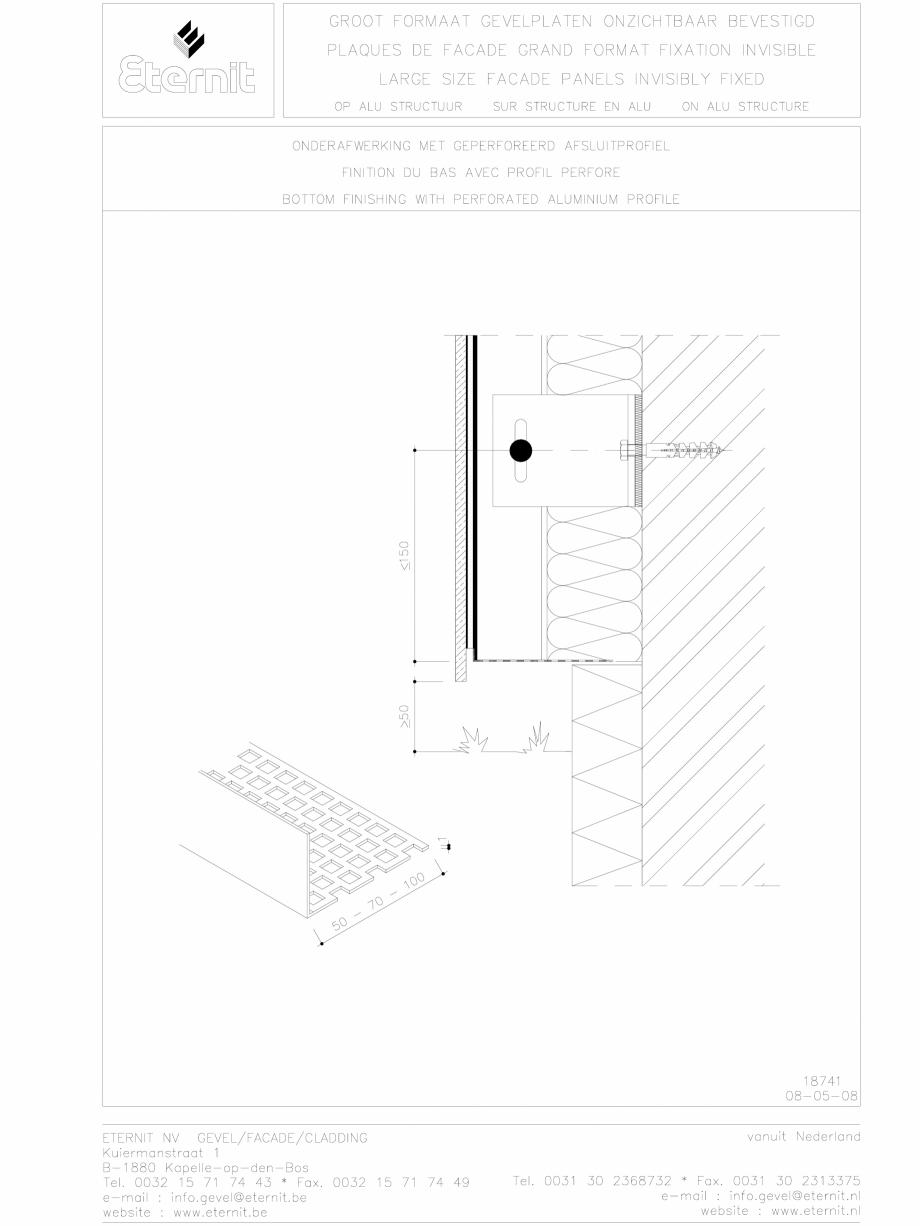 Pagina 1 - CAD-DWG Placa de fibrociment lipita pe structura din aluminiu - Detaliu parte inferioara ...