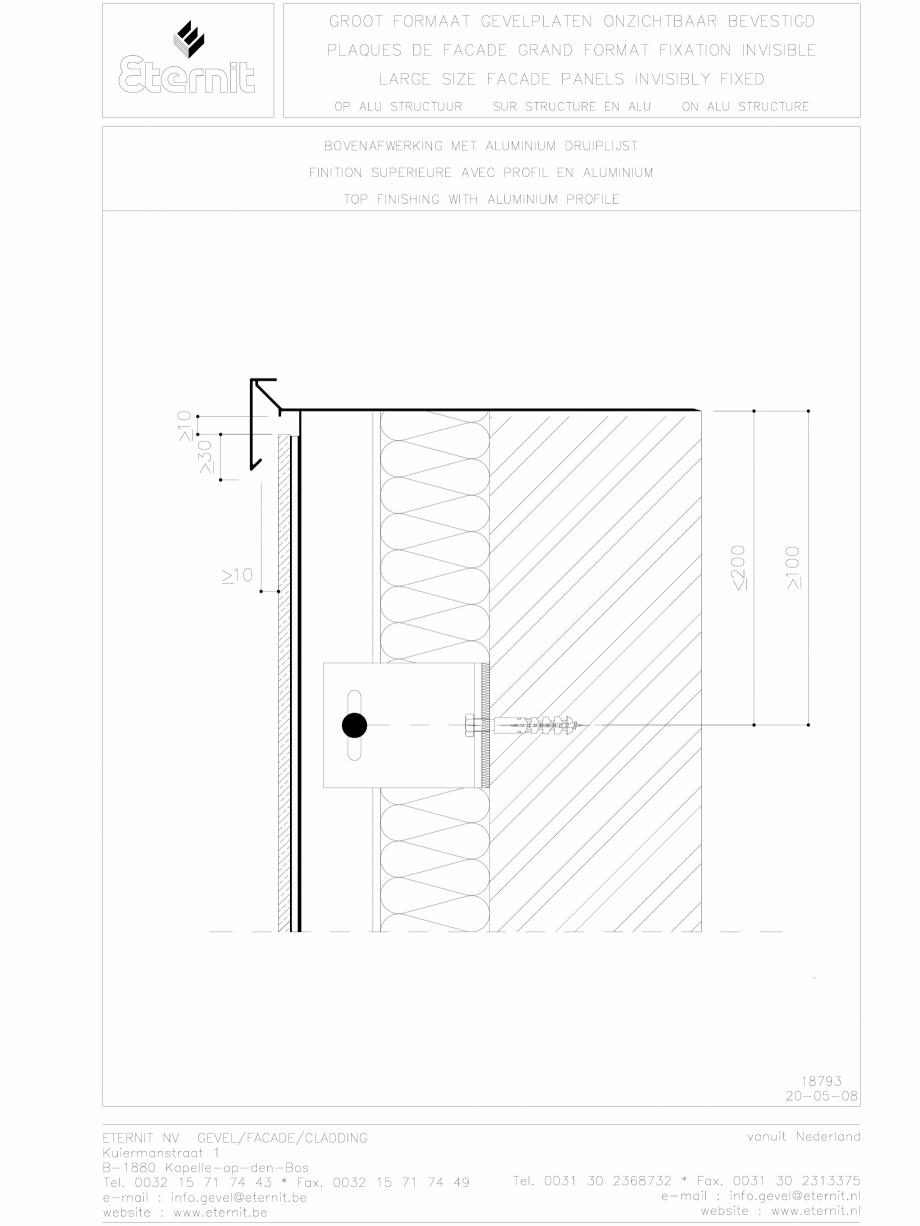 Pagina 1 - CAD-DWG Placa de fibrociment lipita pe structura din aluminiu - Detaliu parte superioara ...