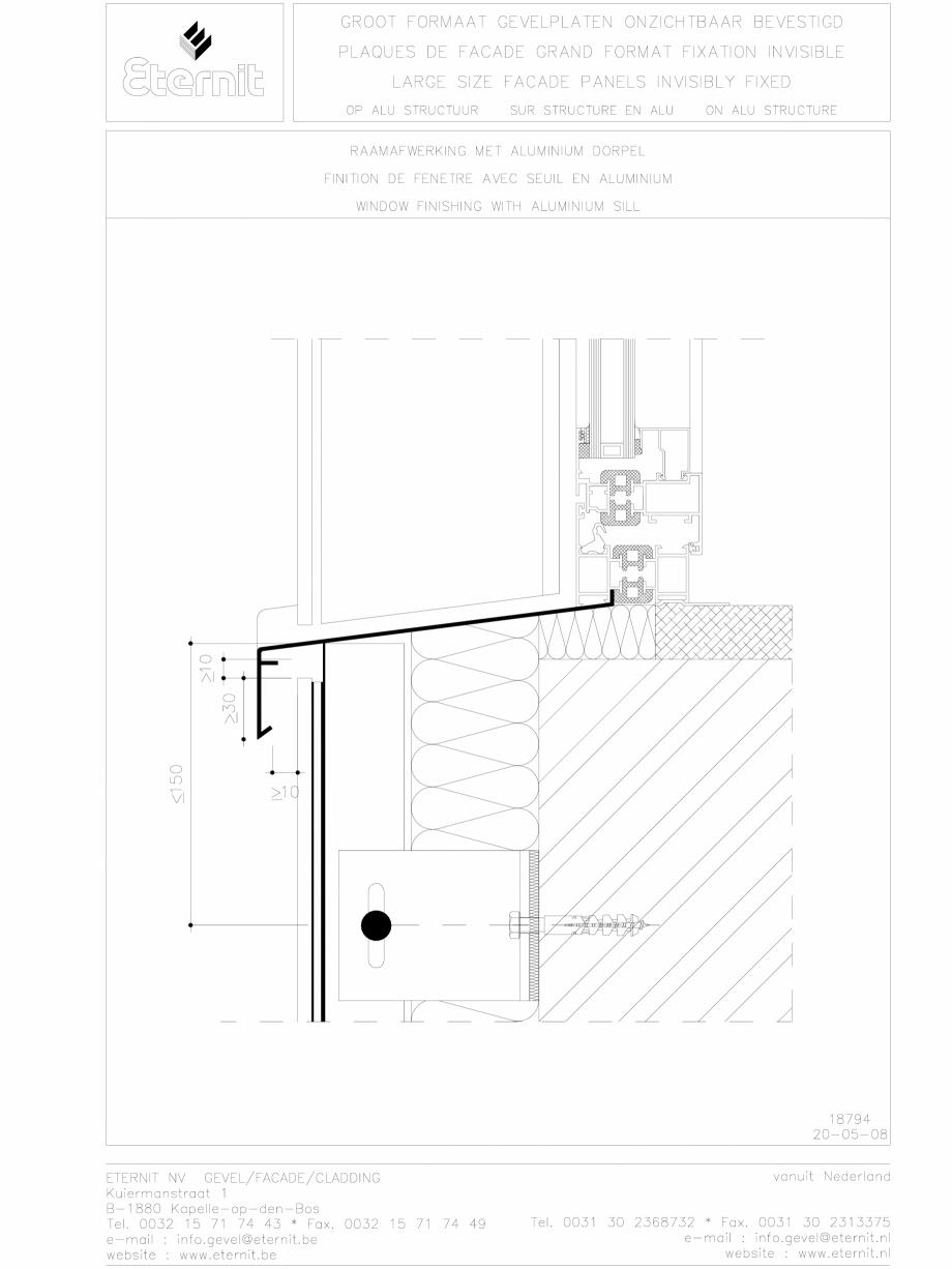 Pagina 1 - CAD-DWG Placa de fibrociment lipita pe structura din aluminiu EQUITONE Detaliu de montaj ...