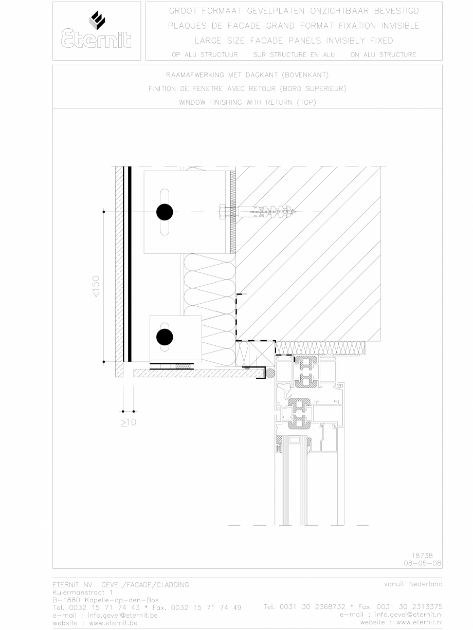 Pagina 1 - CAD-DWG Placa de fibrociment lipita pe structura din aluminiu - Detaliu partea superioara...