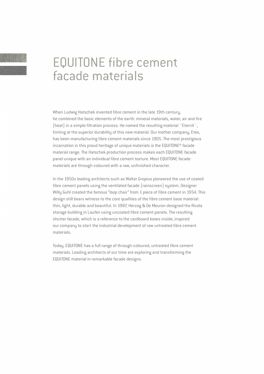 Pagina 2 - EQUITONE fatade ventilate din fibrociment - Prezentare materiale EQUITONE [linea] [linea]...