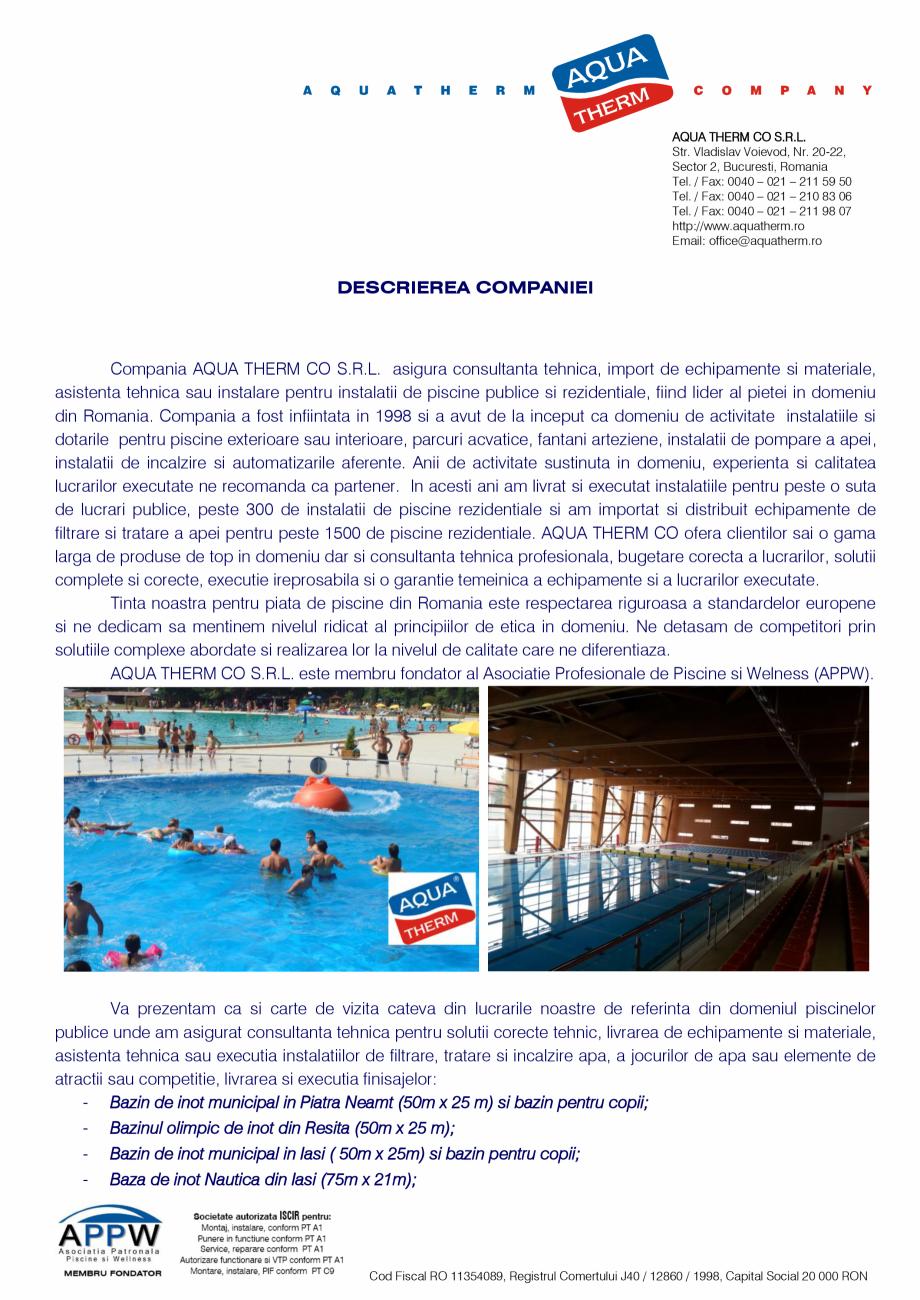 Pagina 1 - Prezentare Aqua Therm Co, 2016  Catalog, brosura Romana AQUA THERM CO S.R.L. Str....