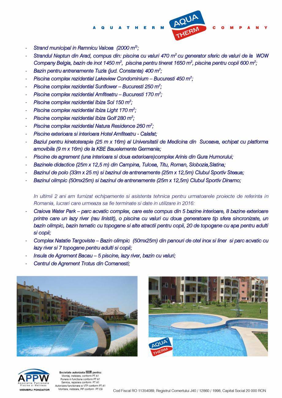 Pagina 2 - Prezentare Aqua Therm Co, 2016  Catalog, brosura Romana  piscine rezidentiale si am...