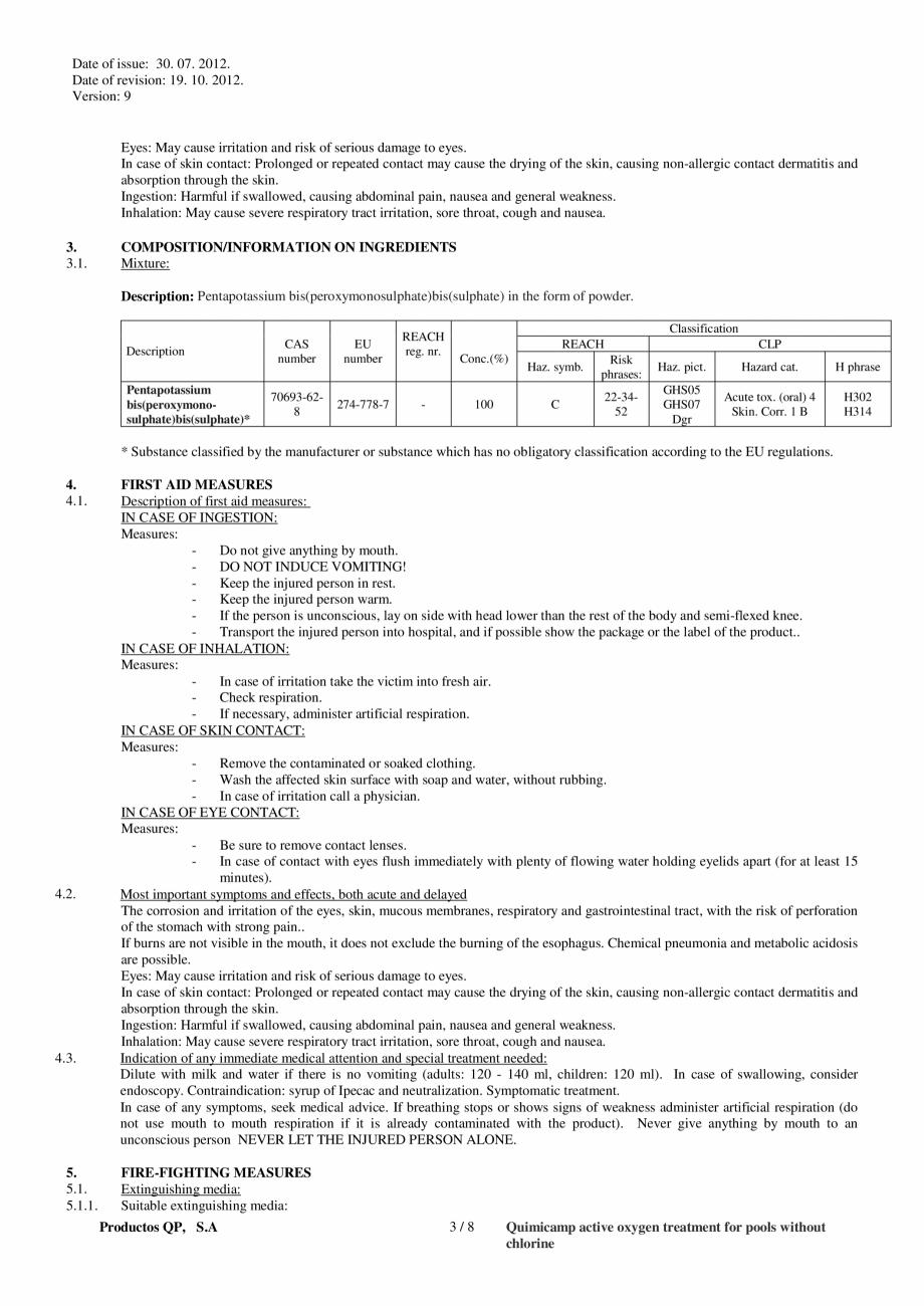 Fisa tehnica Fisa tehnica de securitate OXIGEN ACTIV PUDRA QUIMICAMP Substante pentru tratarea apei din piscine AQUA THERM CO sue: 30. 07. 2012. Date of revision: 19. 10. 2012. Version: 9  Classification based on 1999/45/EC:  ... - Pagina 3