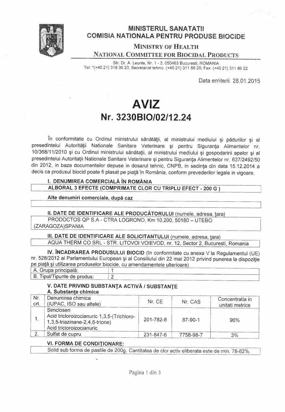 Certificare produs Aviz Nr.3230 BIO/02/12.24 ALBORAL CLOR GRANULE QUIMICAMP Substante pentru tratarea apei din piscine AQUA THERM CO  - Pagina 1
