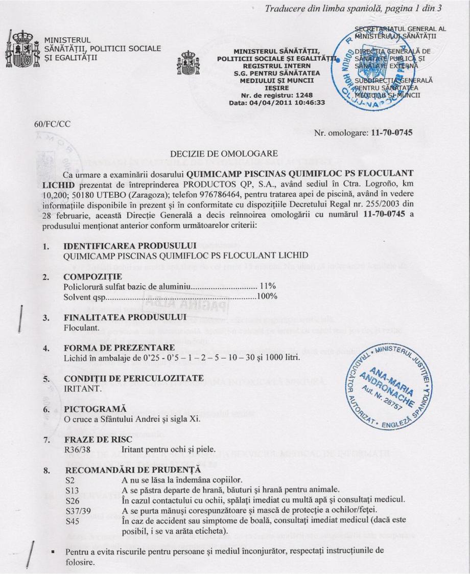 Certificare produs Decizie de omologare QUIMIFLOC PS LICHID QUIMICAMP Substante pentru tratarea apei din piscine AQUA THERM CO  - Pagina 1