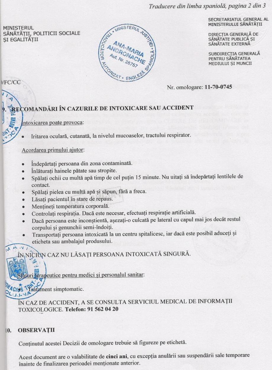 Certificare produs Decizie de omologare QUIMIFLOC PS LICHID QUIMICAMP Substante pentru tratarea apei din piscine AQUA THERM CO  - Pagina 2