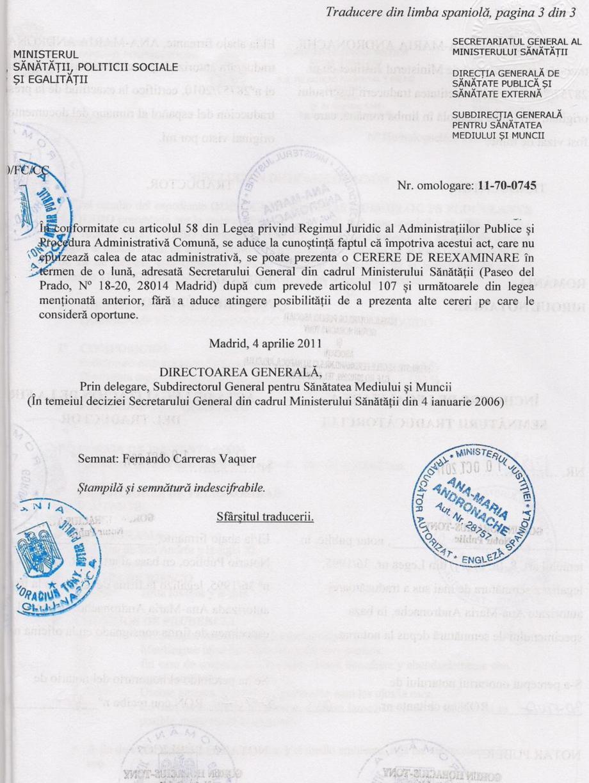 Certificare produs Decizie de omologare QUIMIFLOC PS LICHID QUIMICAMP Substante pentru tratarea apei din piscine AQUA THERM CO  - Pagina 3
