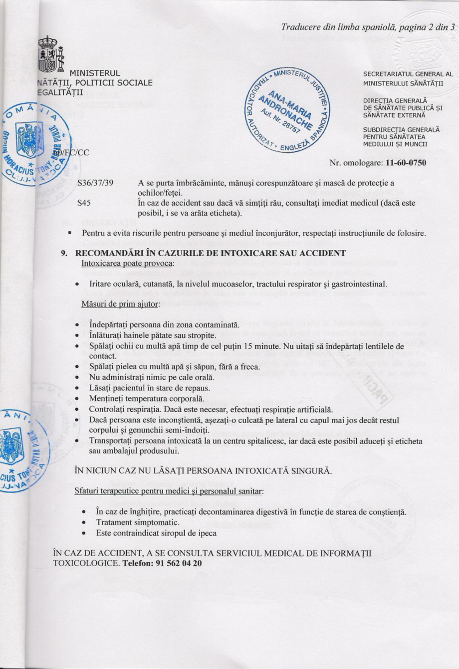 Certificare produs Decizie de omologare ALGICID 100 LICHID QUIMICAMP Substante pentru tratarea apei din piscine AQUA THERM CO  - Pagina 2