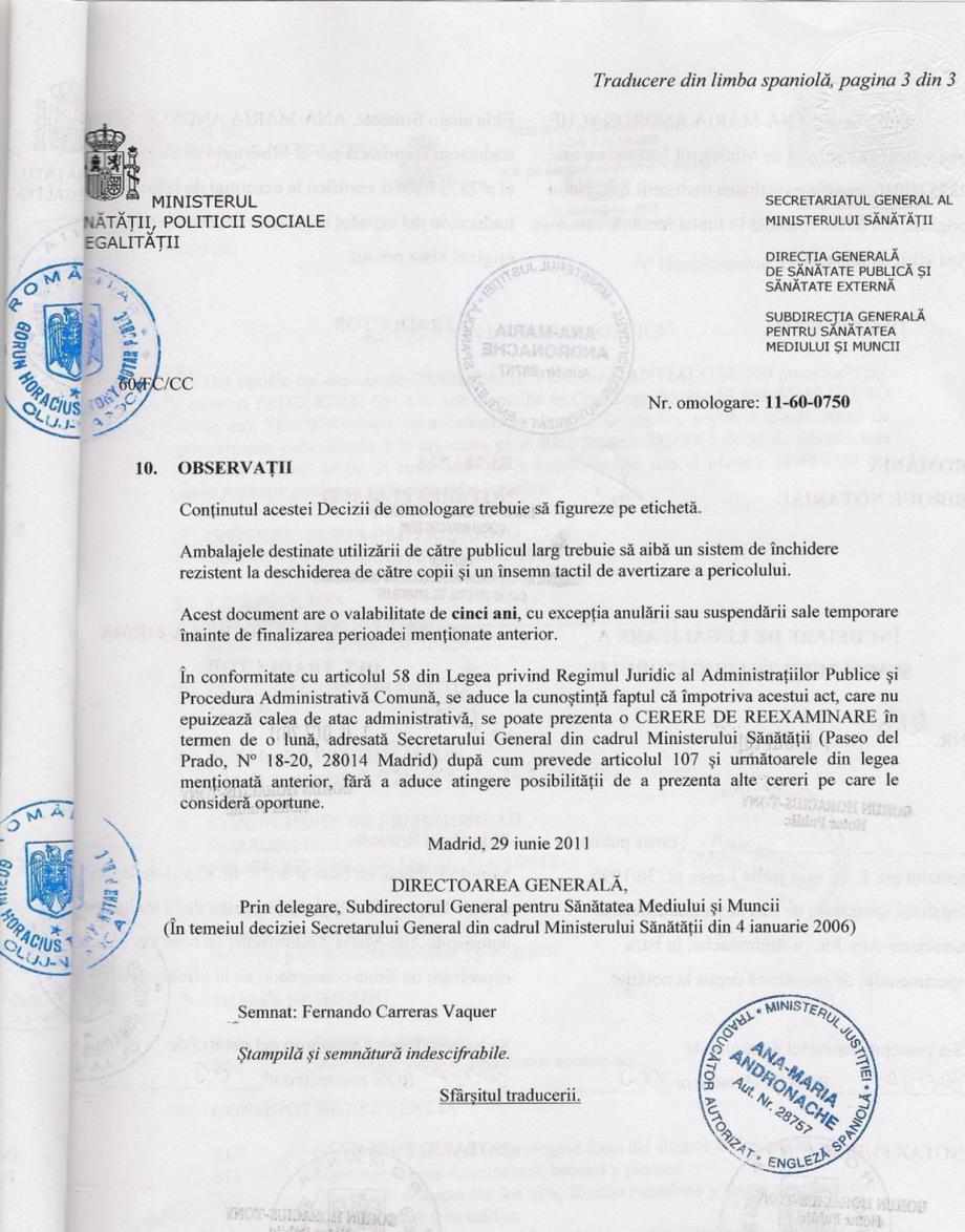Certificare produs Decizie de omologare ALGICID 100 LICHID QUIMICAMP Substante pentru tratarea apei din piscine AQUA THERM CO  - Pagina 3