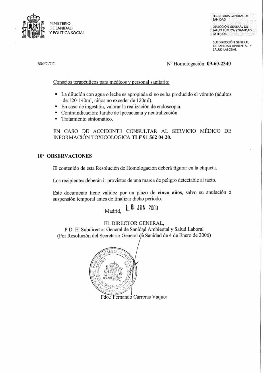 Certificare produs Decizie de omologare OXIGEN ACTIV PUDRA QUIMICAMP Substante pentru tratarea apei din piscine AQUA THERM CO  - Pagina 3