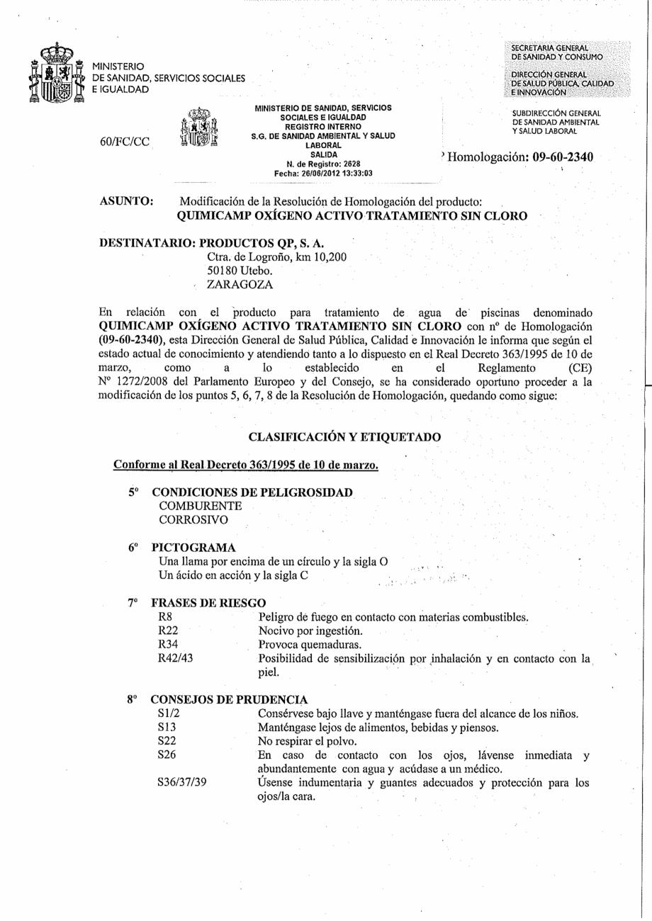 Certificare produs Decizie de omologare OXIGEN ACTIV PUDRA QUIMICAMP Substante pentru tratarea apei din piscine AQUA THERM CO  - Pagina 4