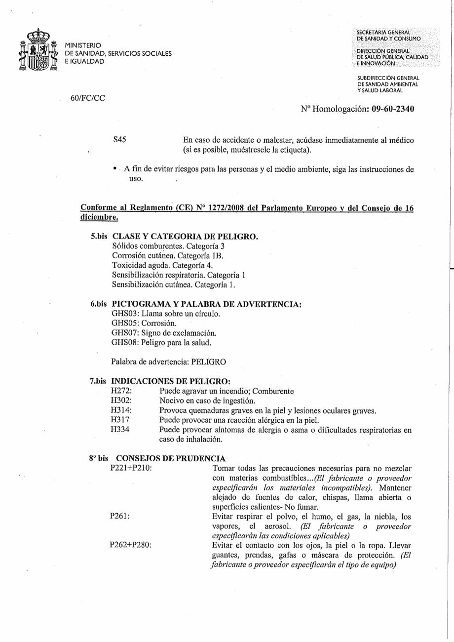 Certificare produs Decizie de omologare OXIGEN ACTIV PUDRA QUIMICAMP Substante pentru tratarea apei din piscine AQUA THERM CO  - Pagina 5