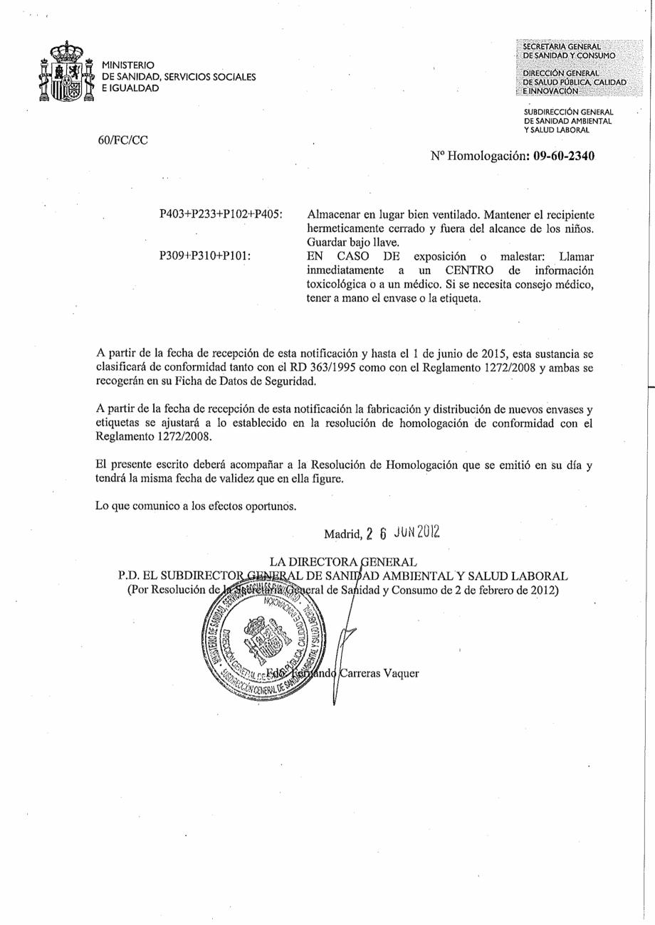 Certificare produs Decizie de omologare OXIGEN ACTIV PUDRA QUIMICAMP Substante pentru tratarea apei din piscine AQUA THERM CO  - Pagina 6