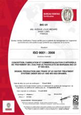 Certificat ISO 9001 2008 - 2016 BIO-UV