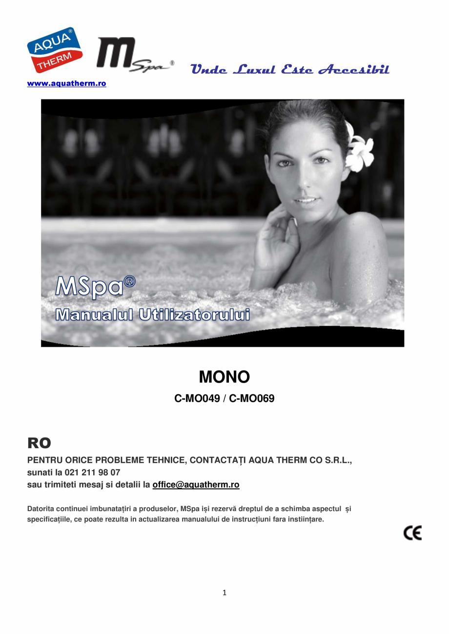 Pagina 1 - Manualul utilizatorului - Spa-uri gonflabile AQUA THERM CONCEPT MONO Instructiuni montaj,...